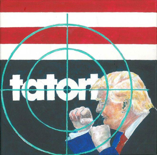 Tatort Trump, 2017, Acryl auf Lw., 30 × 30 cm