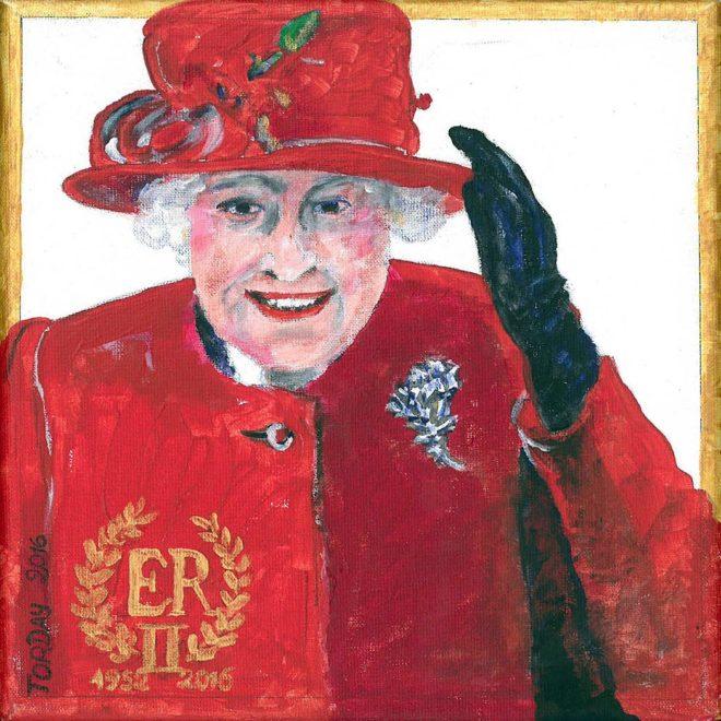 Queen Elizabeth II, 2016, Acryl auf Lwd., ca. 20 × 20 cm