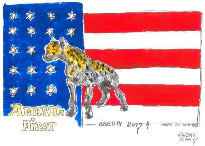 America First – Liberty, Acryl auf Bütten, A3, 2017