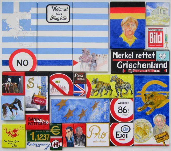 Europa im August 2015, Öl-/Acrylmalerei auf Lwd., 140 x 150 cm
