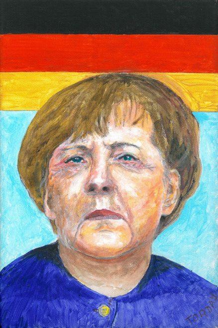 Kanzlerin Merkel, Acryl auf Lwd., 40 x 30 cm, 2017