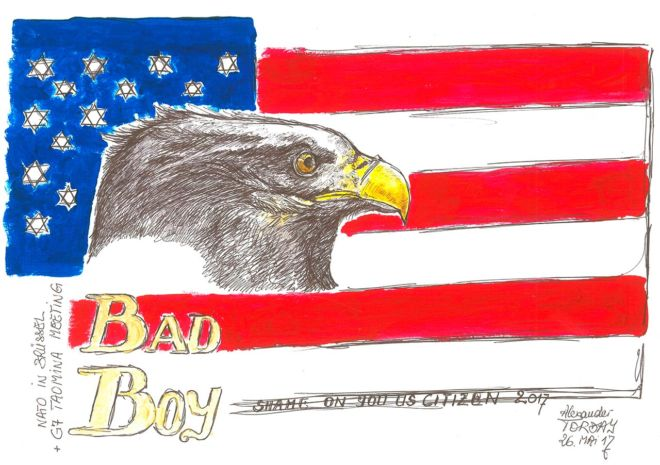 America First –Bad Boy, Acryl auf Bütten, A3, 2017