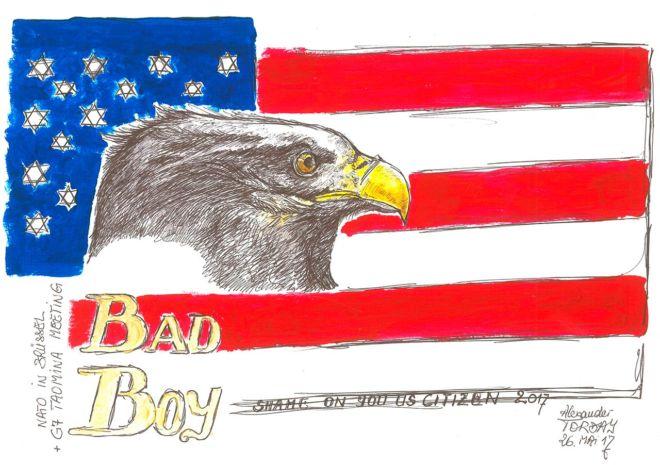America First –Bad Boy, Acryl auf Bütten, A3, 2017