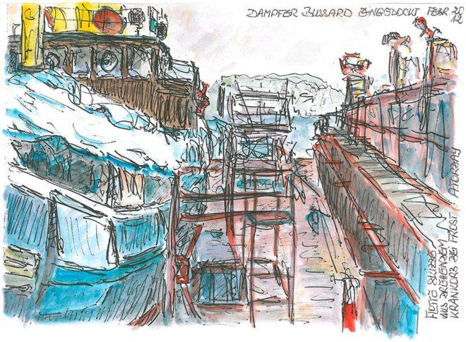 Bussard im Dock, Aquarell, A5, 2012