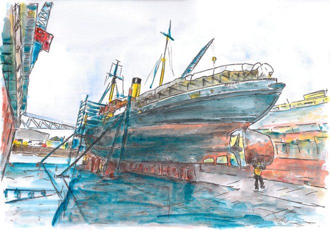 Bussard im Friedrichsorter Dock, Aquarell, A3, 2017