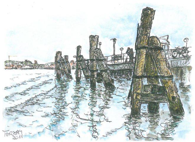 Liebespaar an Reventlou, Aquarell, A4, 2011