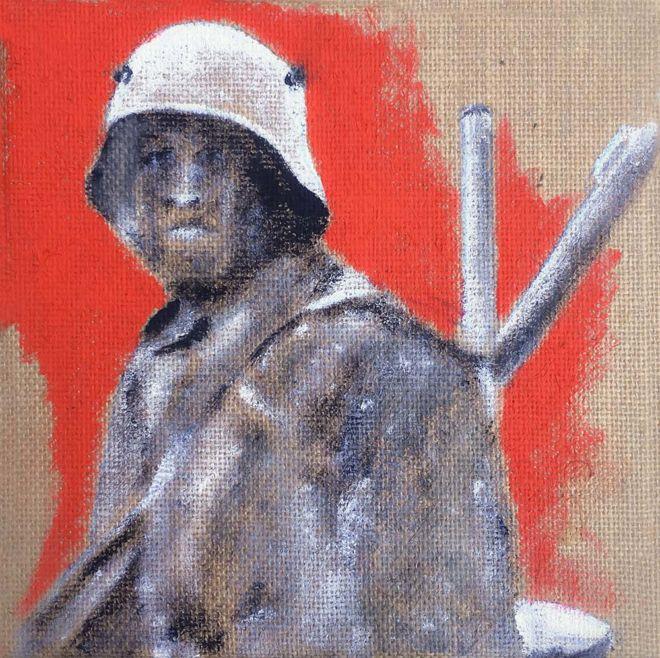 heimkehrender junger Soldat Nov. 1918, Acryl auf Jute, 20 x 20 cm, 2017