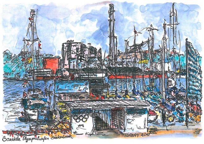 Olympiahafen Düsternbrock, farbige Zeichnung, 2010