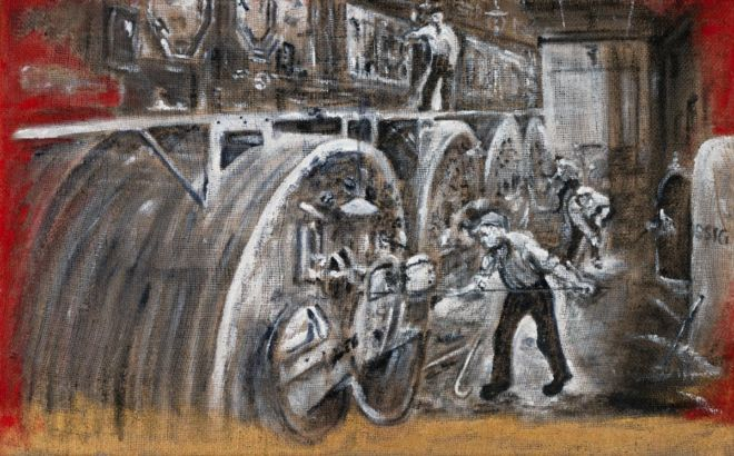 'Werft Gießerei 1918', 50 x 80 cm, Acryl auf grober Jute, 2018