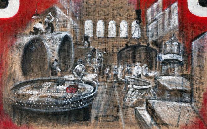 'Kesselschmiede 1918', 50 x 80 cm, Acryl auf grober Jute, 2018